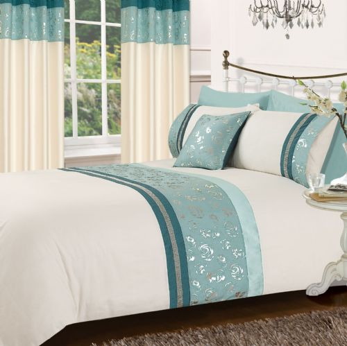 TEAL & CREAM COLOUR STYLISH MATALLIC FLORAL DIAMANTE DUVET COVER LUXURY BEAUTIFUL GLAMOUR BEDDING